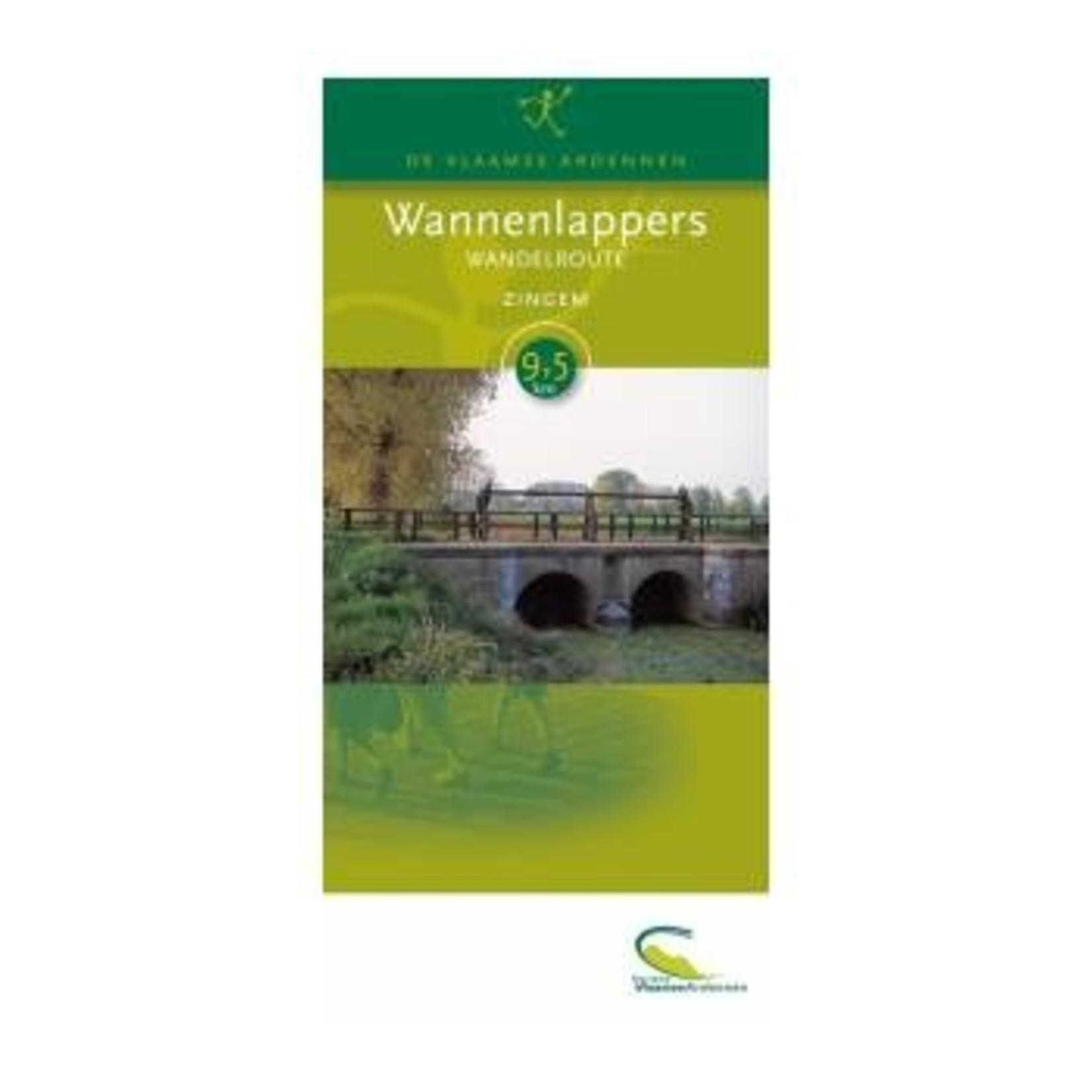Kaart met wandelroute 'Wannenlappers' (Zingem)