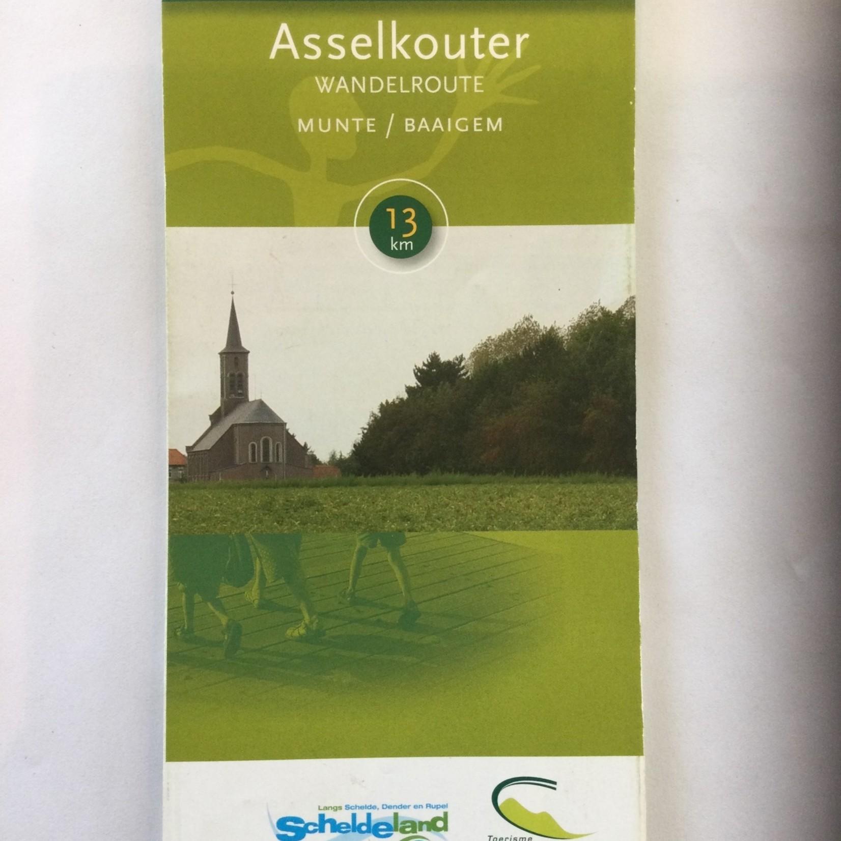 Map (walk) 'Asselkouterroute' (Munte/Baaigem)-> 13km