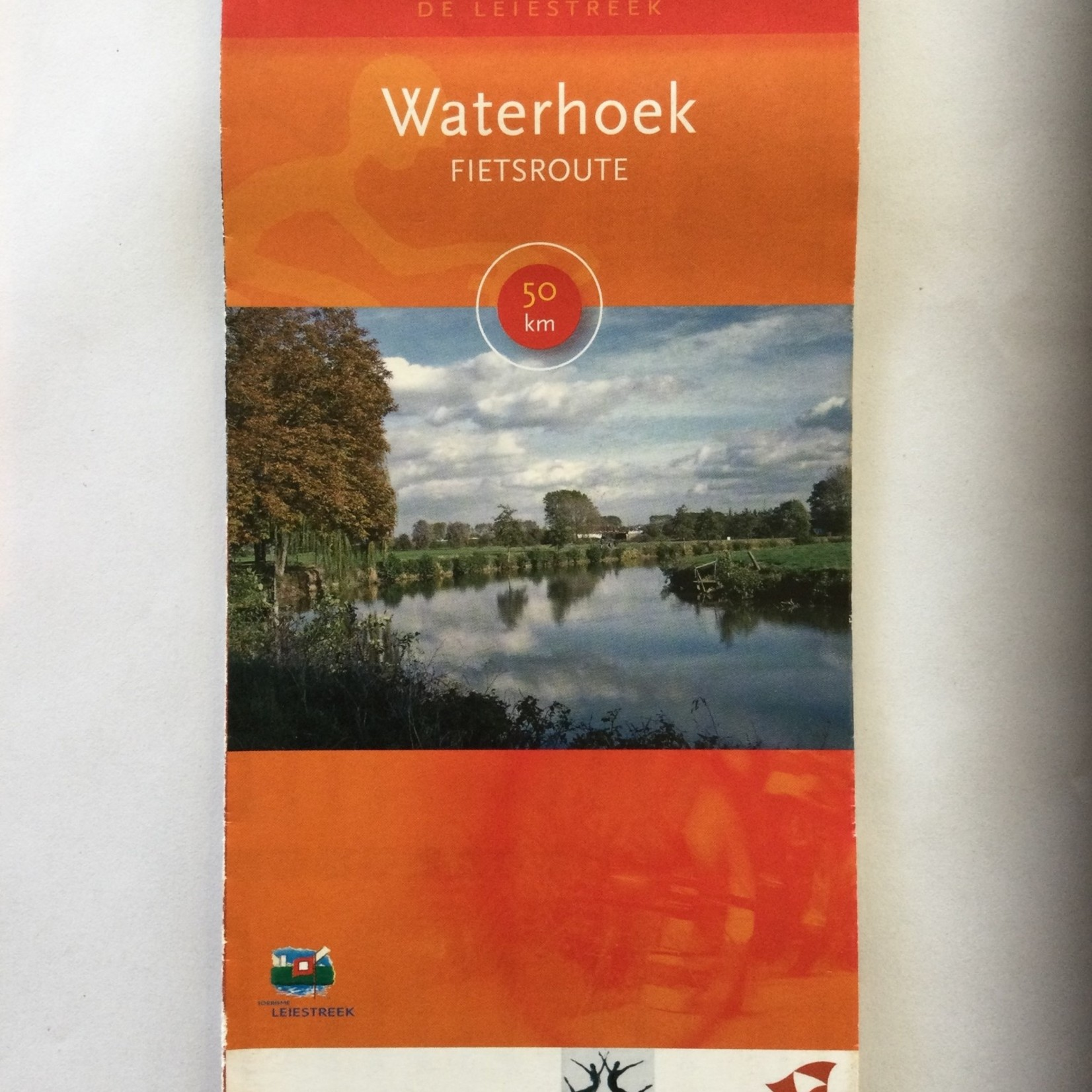 Kaart met fietsroute 'Waterhoek' (50km)