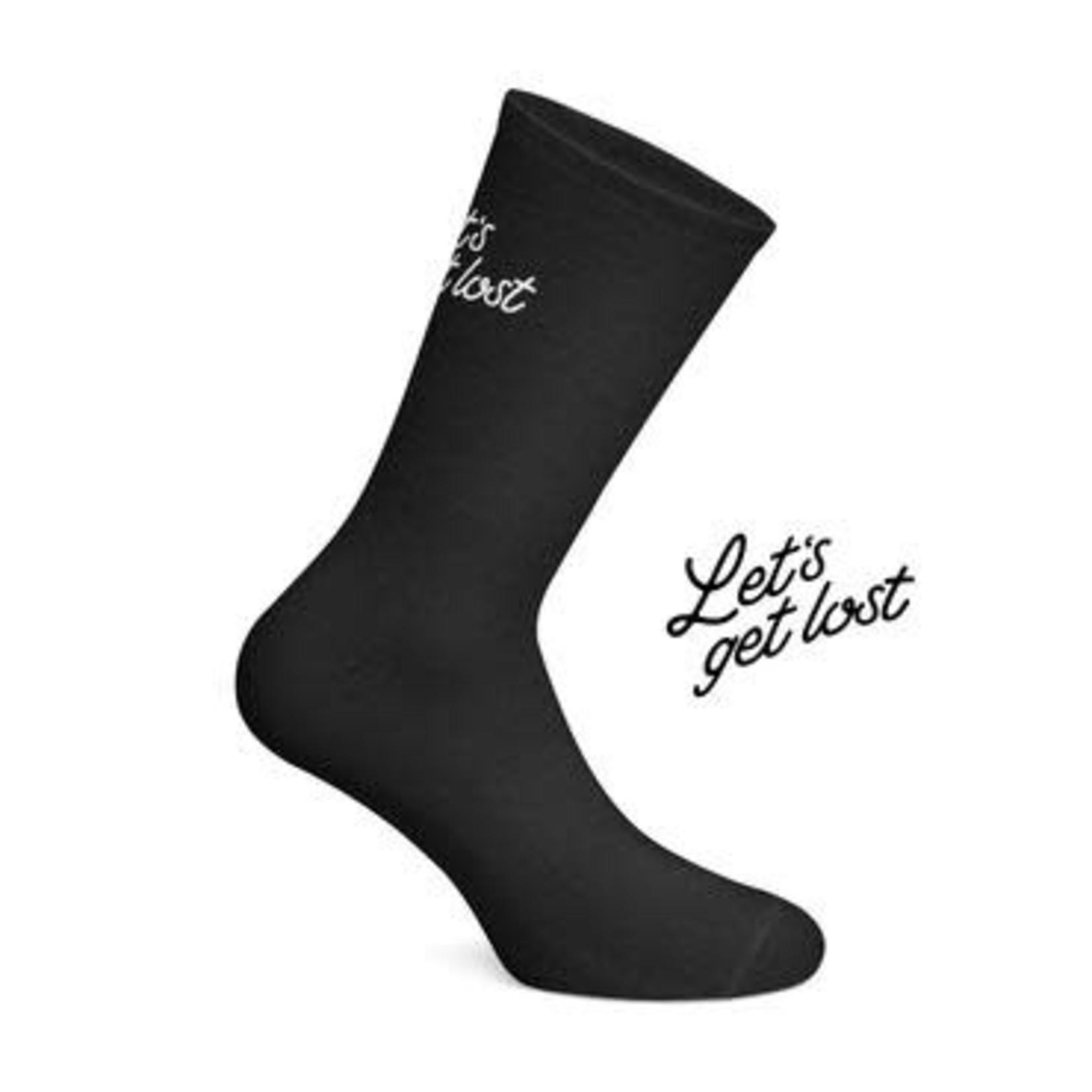 Socks-'Let's Get Lost' black