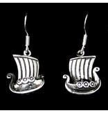 Oorbellen Vikingschip 3D Zilver