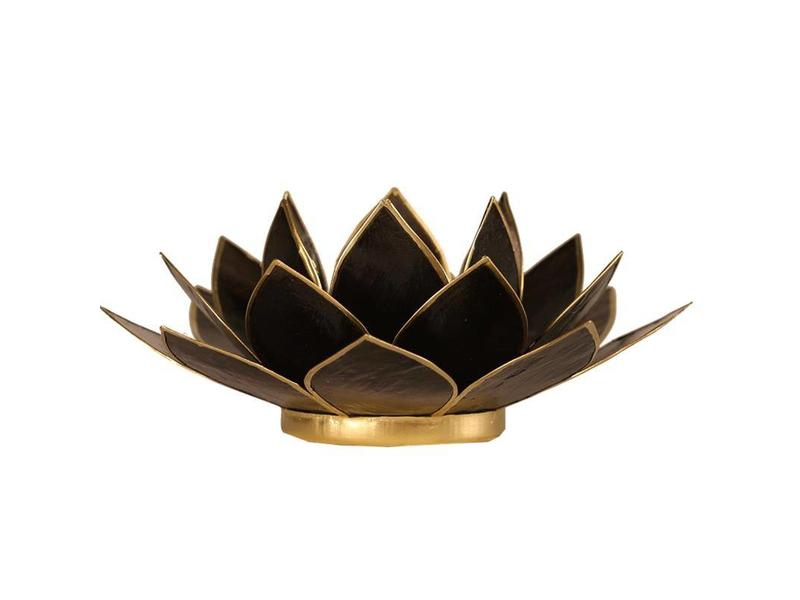 Waxinehouder Lotus - Zwart met goudkleurige randjes