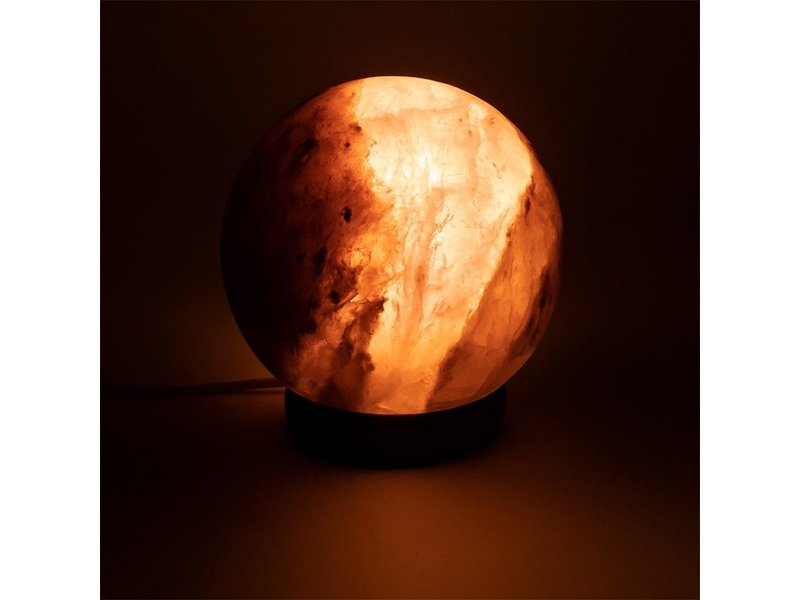 Lamp Zoutkristal Zwart Bol