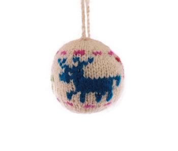 Kerstbal gebreid hert kleur