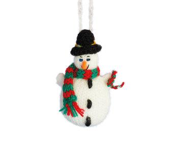 Sneeuwpop kerstbal gebreid