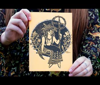 Linoprint - Midzomer Zonnewende 2020