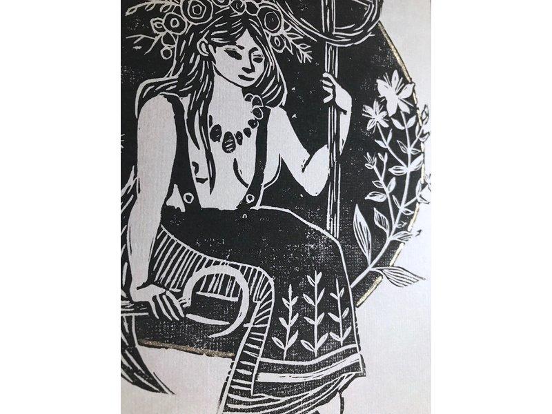 Solawende Linoprint - Midzomer Zonnewende 2020
