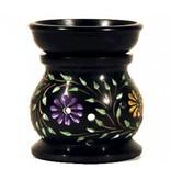 Wierookbrander Zeepsteen Zwart Gekleurde Bloemen