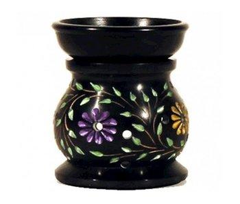 Wierookhouder Zeepsteen Zwart Gekleurde Bloemen