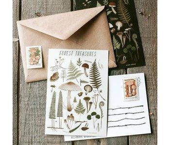 Ansichtkaart - Forest Treasures (wit)