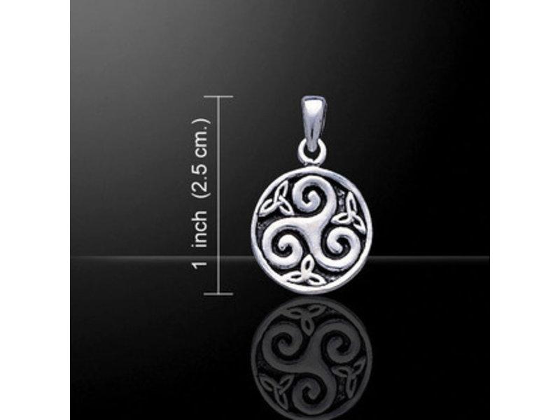 Hanger Triskel in Cirkel Zilver