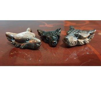 Wolf Edelsteen Krachtdier - Obsidiaan Zilverglans