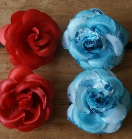 Turqoise en rode bloem speldjes
