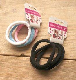 Pastel en zwarte elastieken (6 st)