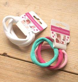 Roze, turquoise en witte elastieken