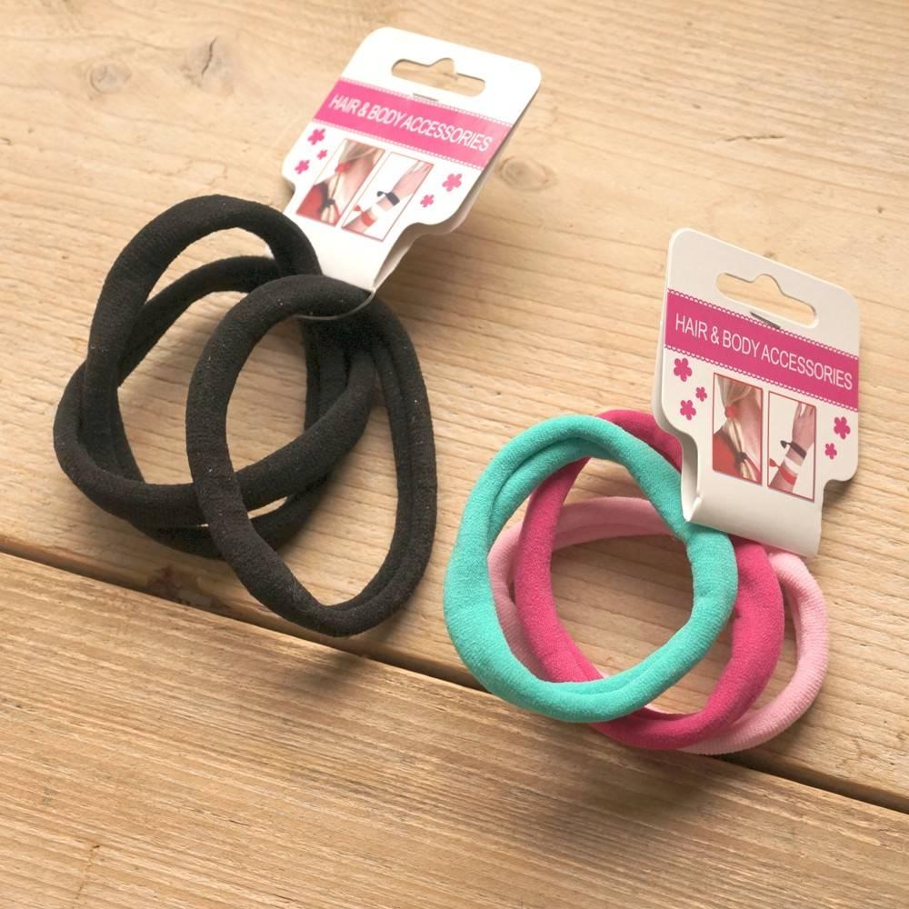 Roze, turquoise en zwarte elastieken (6 st)