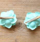 Turquoise bloemetjes (2 st)
