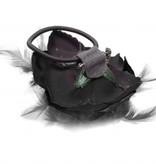 zwarte bloem corsage / elastiek