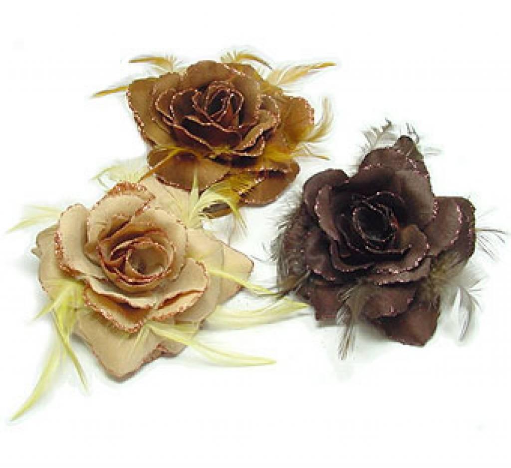 Drie bruine bloemen corsages/elastieken