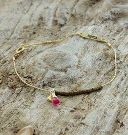 Treasure Rookie Columbussy bruin/roze armband