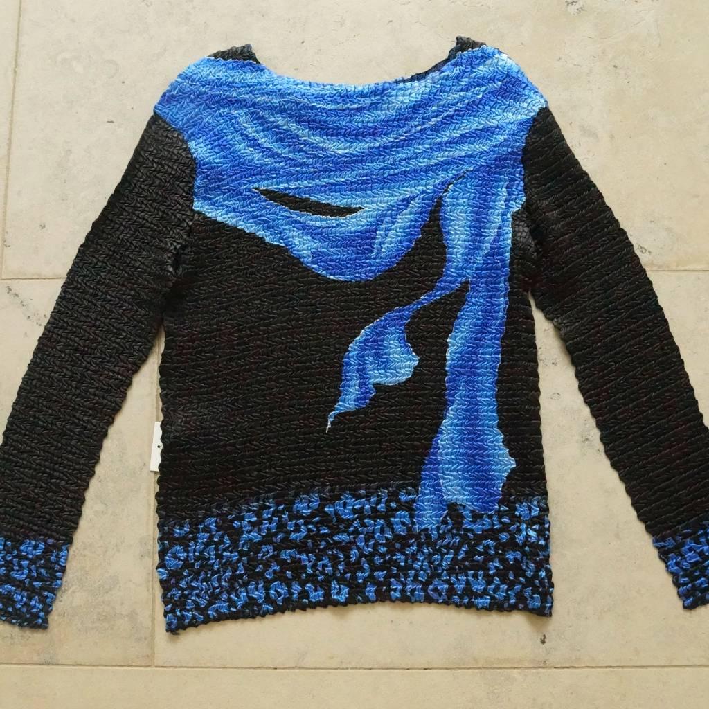 Blauw zwart bubbleshirt lange mouw