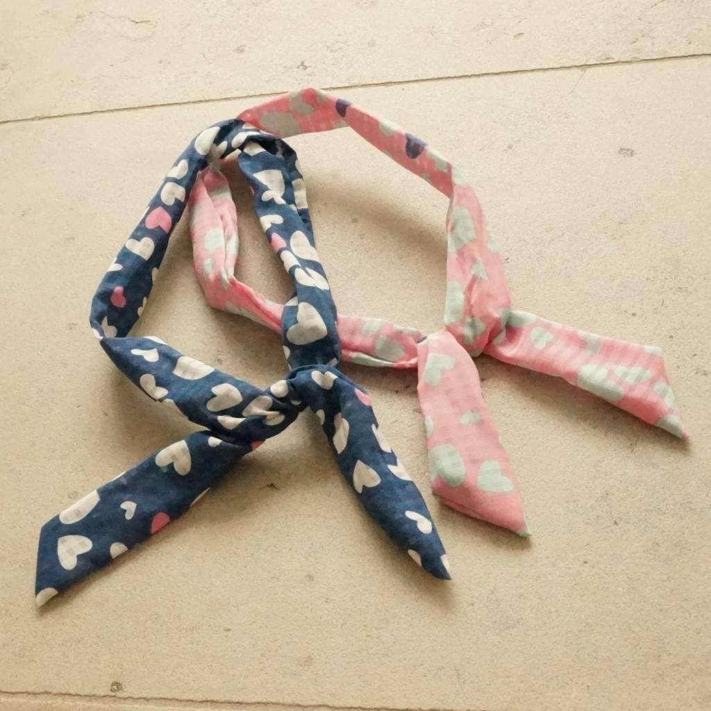 Roze en blauw bunny haarbandje