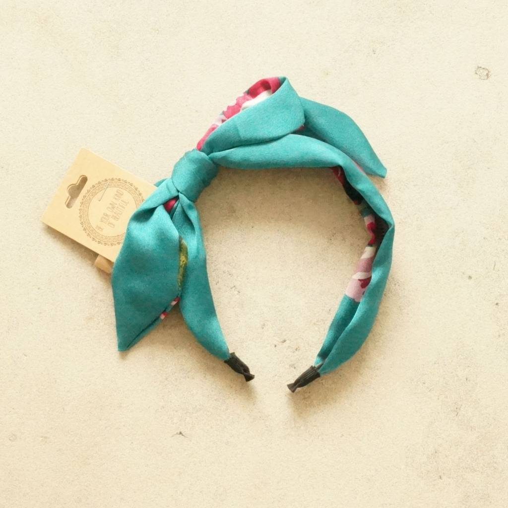 Diadeem strik turquoise