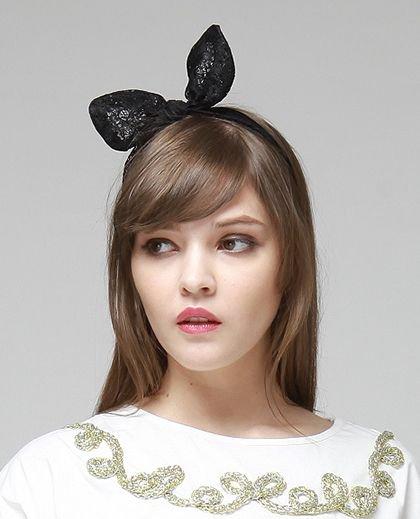 Zwart bunny haarbandje