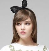 Donkerblauw bunny haarbandje