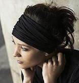 Donkerblauwe brede haarband (multifunctioneel)