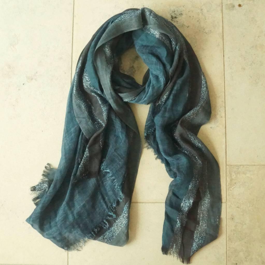 Donkerblauwe sjaal glitter