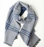 Herensjaal blauw grijs