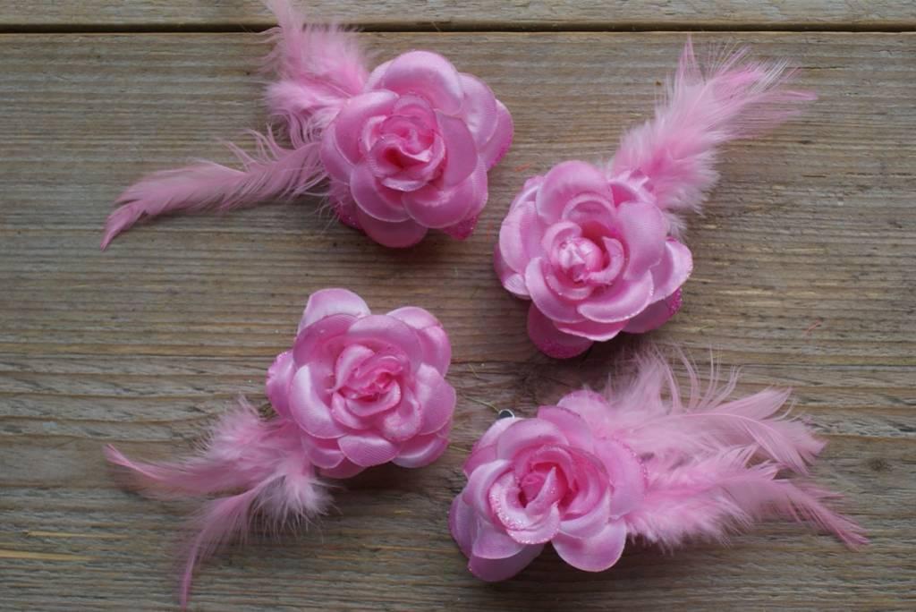 Rose bloemklemmetjes (4)