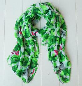Groene sjaal vogels en bloemen
