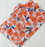 Rode sjaal vogels en bloemen