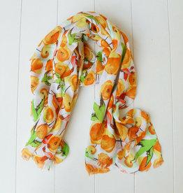 Oranje sjaal vogels en bloemen