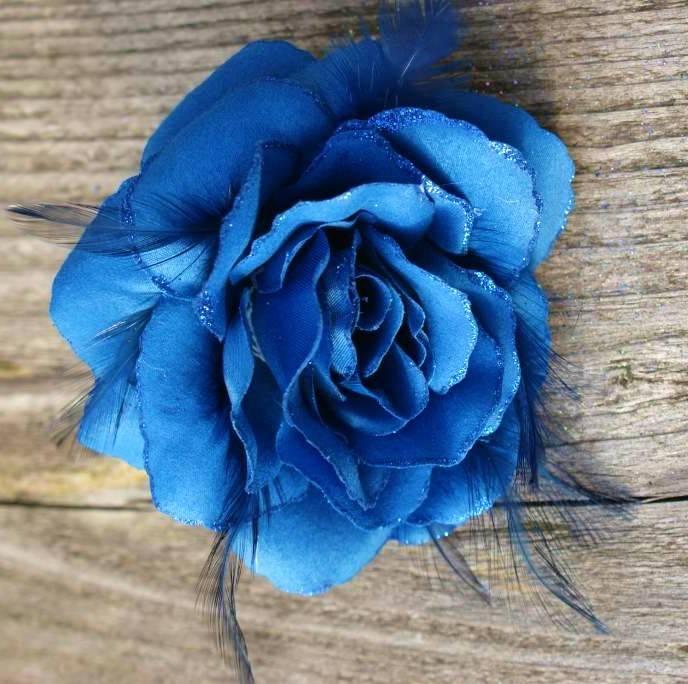 Kobalt Blauwe Accessoires.Kobalt Blauwe Bloem Corsage Met Veertjes