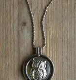 Zilverkleurige ketting met munt / Uil