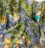 Vierkante sjaal met kwastjes blauw