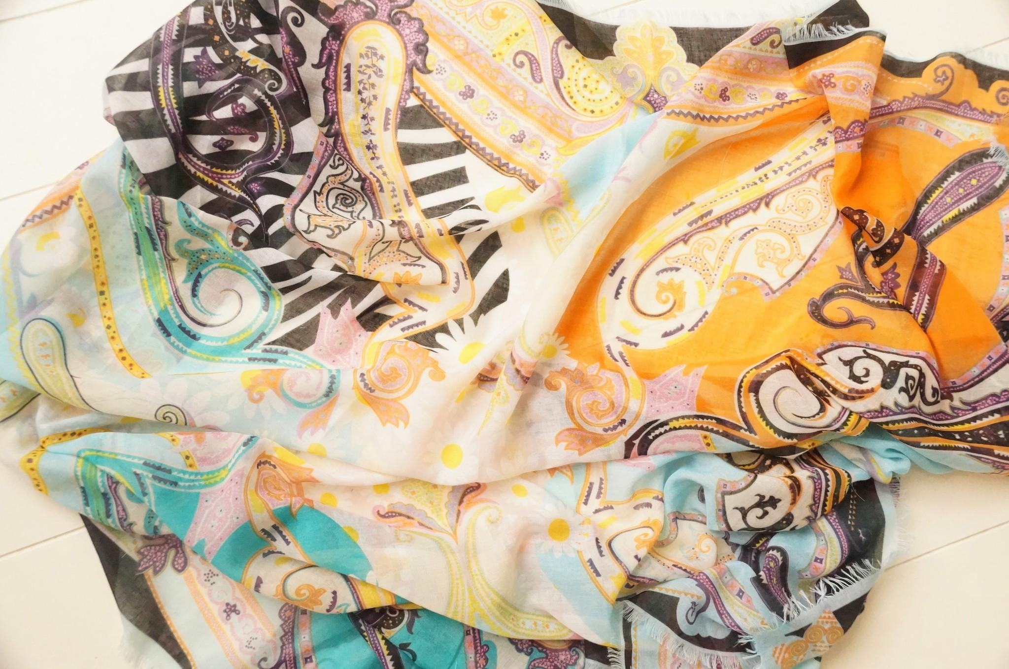 Vierkante sjaal fantasie turquoise