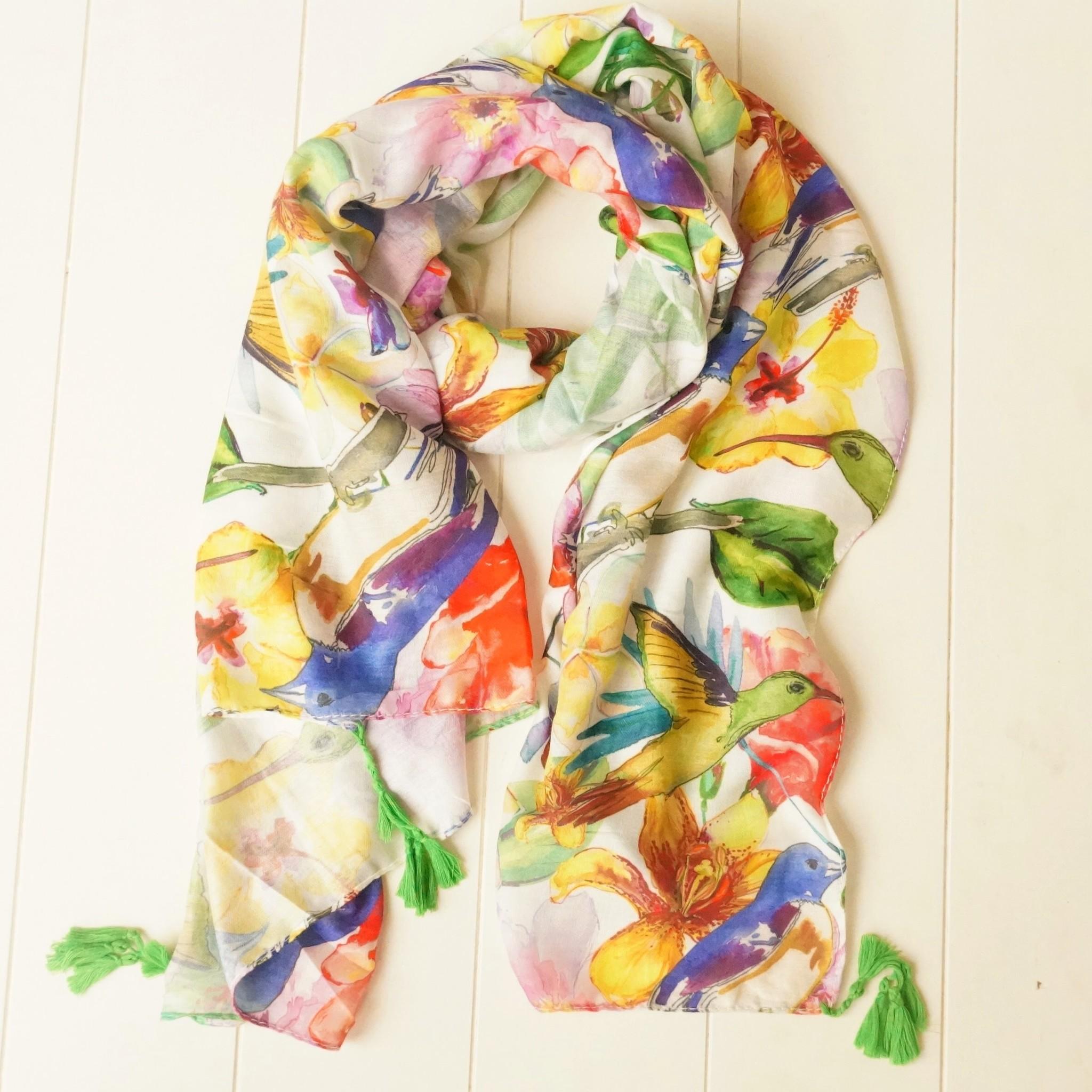 Sjaal met kwastjes en vogels