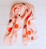 Lichtroze sjaal met ballen