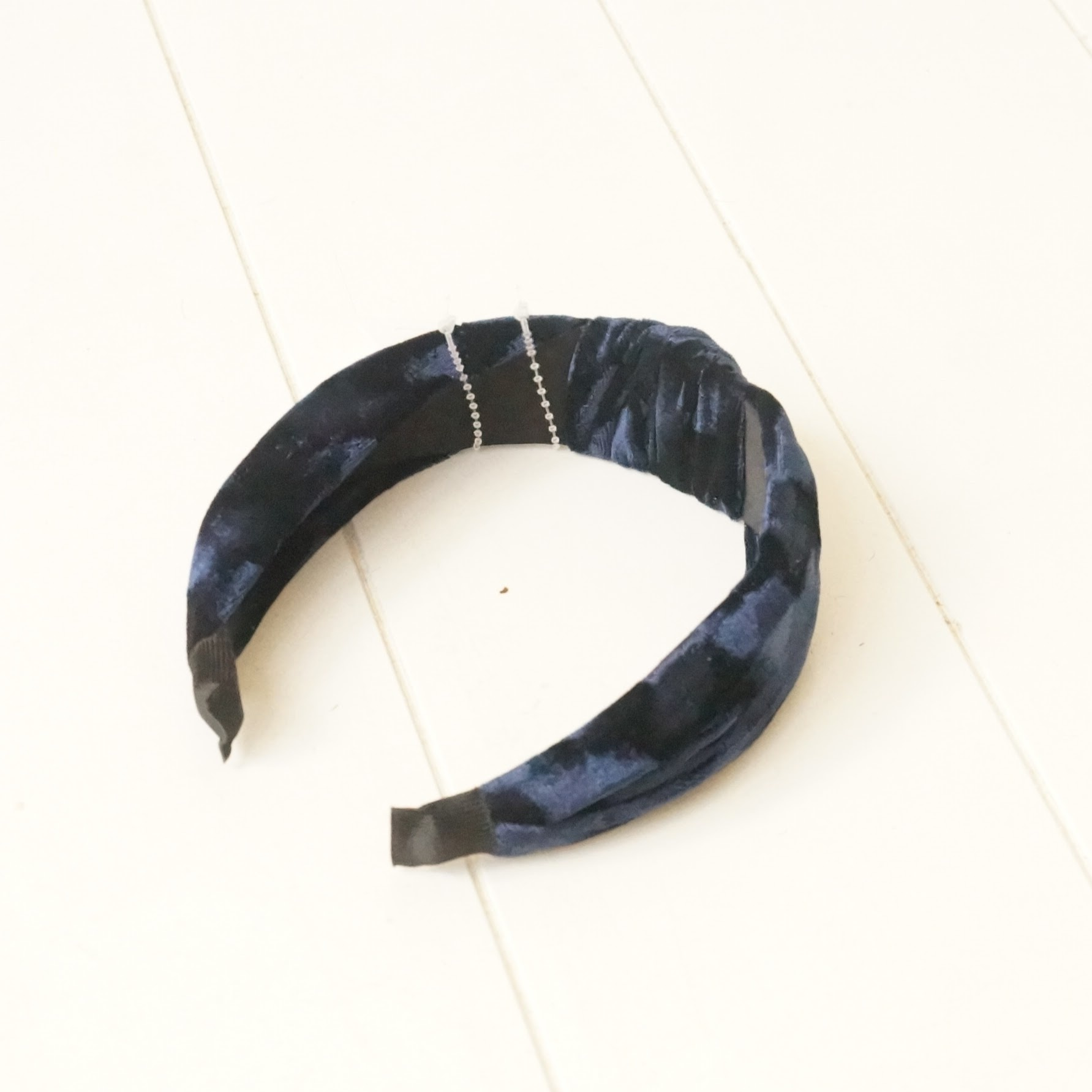 Diadeem blauw fluweel
