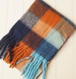 Geblokte sjaal terra, oranje, blauw