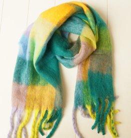 Geblokte sjaal groen, geel
