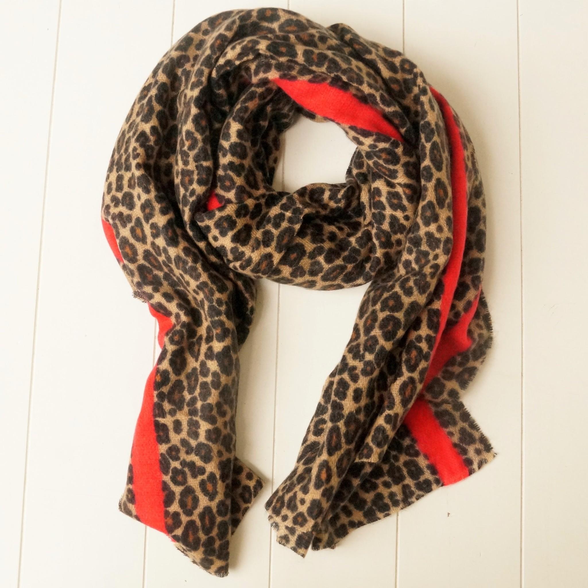 Leopard sjaal met rode streep