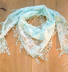 Licht turquoise kanten sjaal