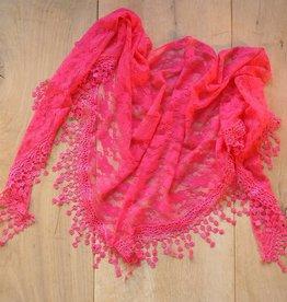 Fel roze kanten sjaal