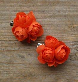 Oranje bloemetjes (2x)