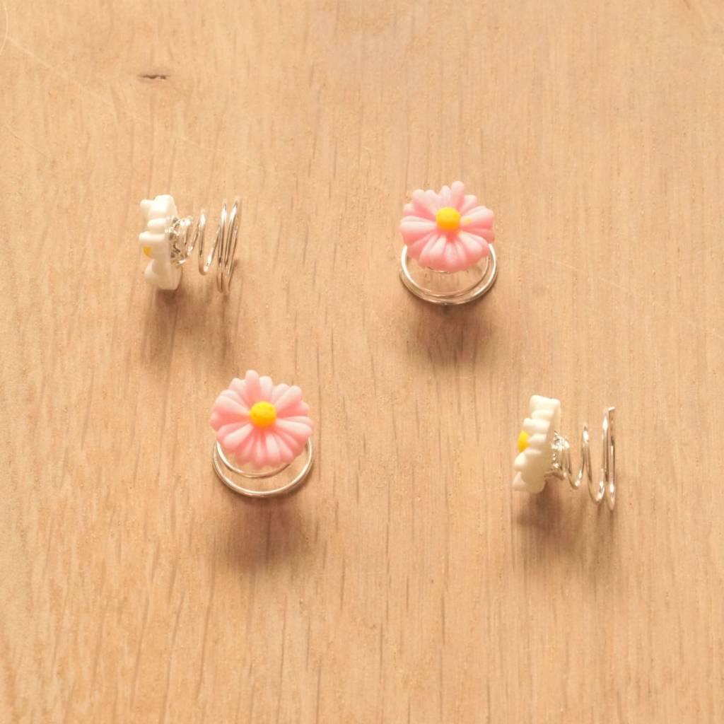 Haarspiraal met bloemetjes wit/roze (4)